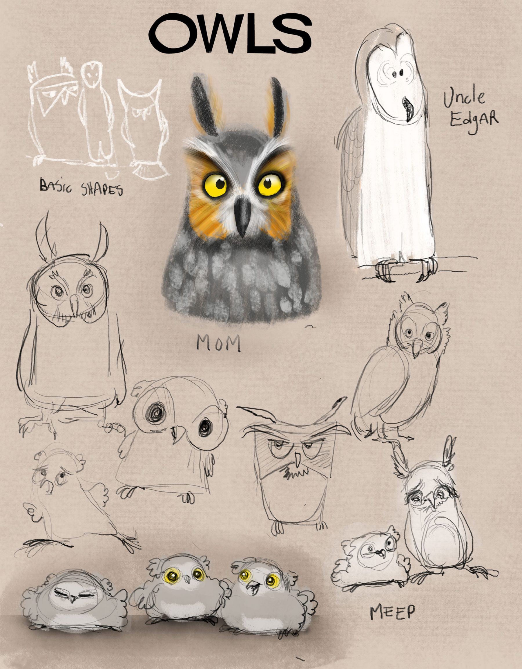 I have a picture book I'm developing about a baby owl. This was some explorations on shape language and possible painting style.